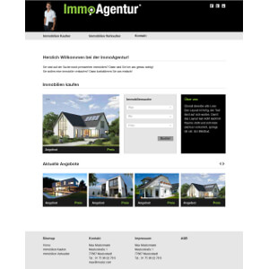 Homepage for Real estate broker
